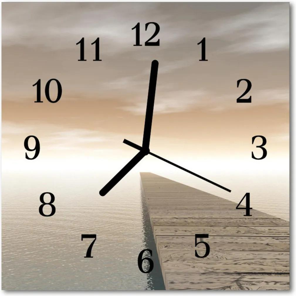 Nástenné skleněné hodiny molo