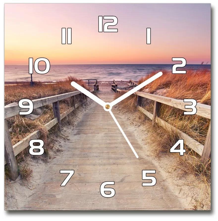 Sklenené hodiny štvorec Chodník na pláž pl_zsk_30x30_f_135049987