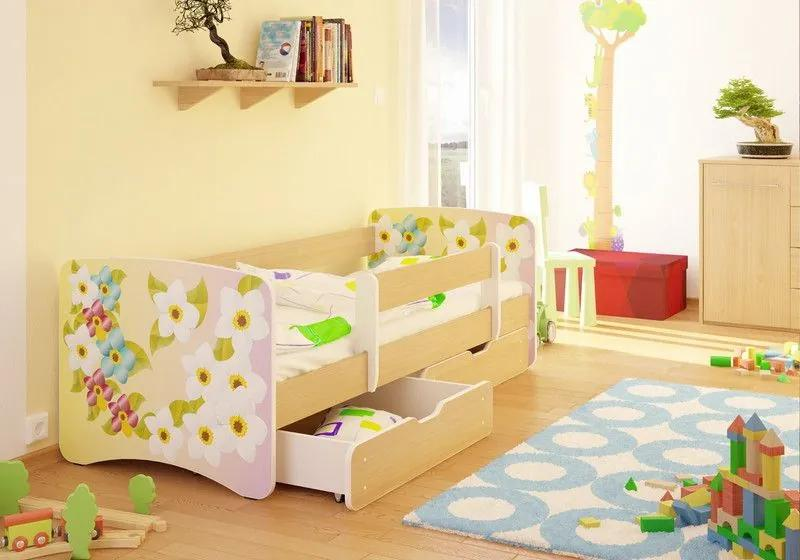 MAXMAX Detská posteľ kvietočkov funny 160x70cm - so zásuvkou 160x70 pre dievča ÁNO