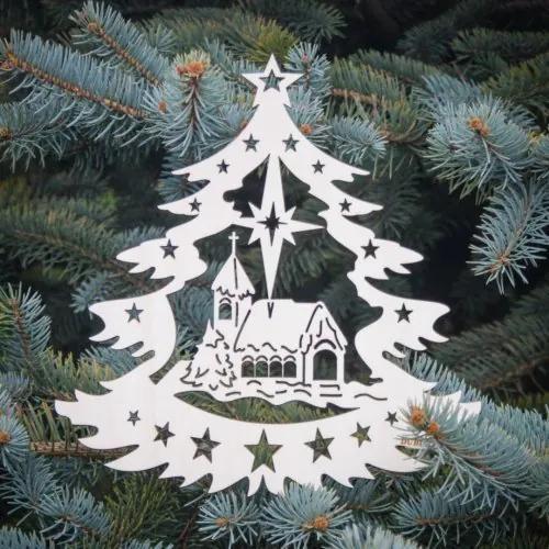 Drevený vianočný stromček s kostolom