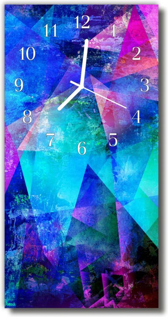 Nástěnné hodiny vertikální Umělecká grafika modrá