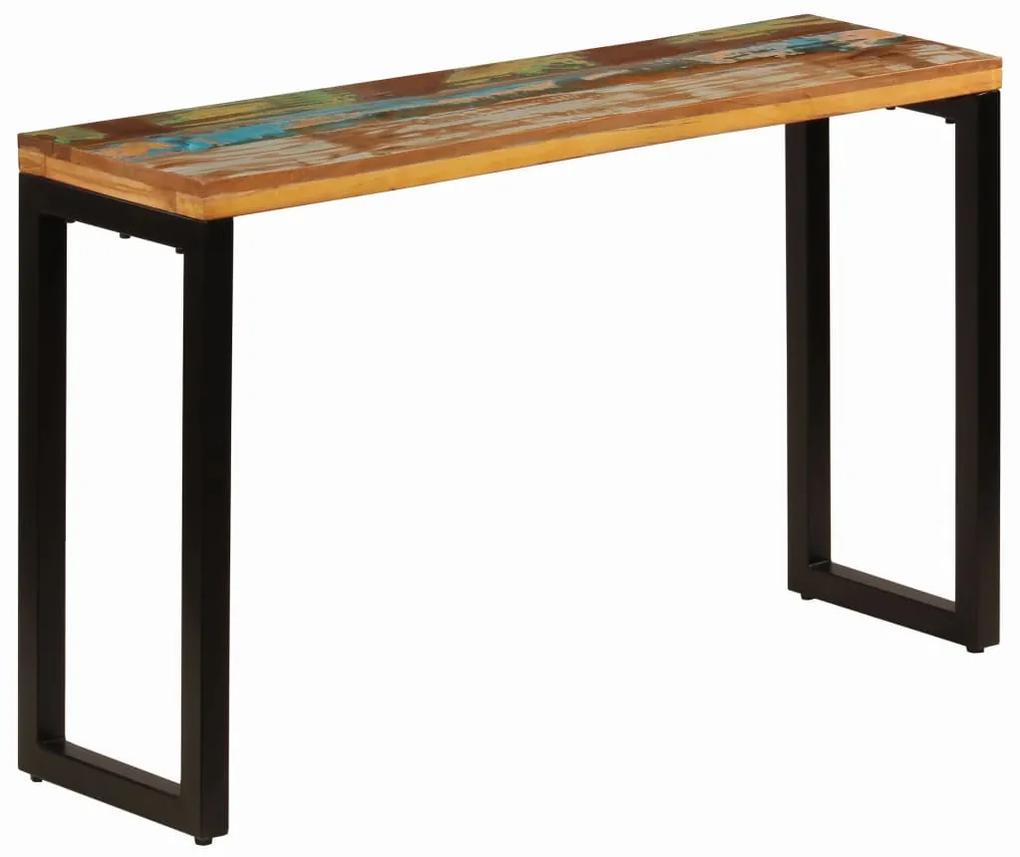vidaXL Konzolový stolík 120x35x76 cm, recyklovaný masív a oceľ