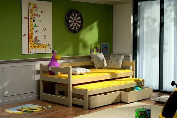 MAXMAX Detská posteľ s výsuvnou prístelkou z MASÍVU 200x80cm so zásuvkou - DPV003 200x80 ÁNO