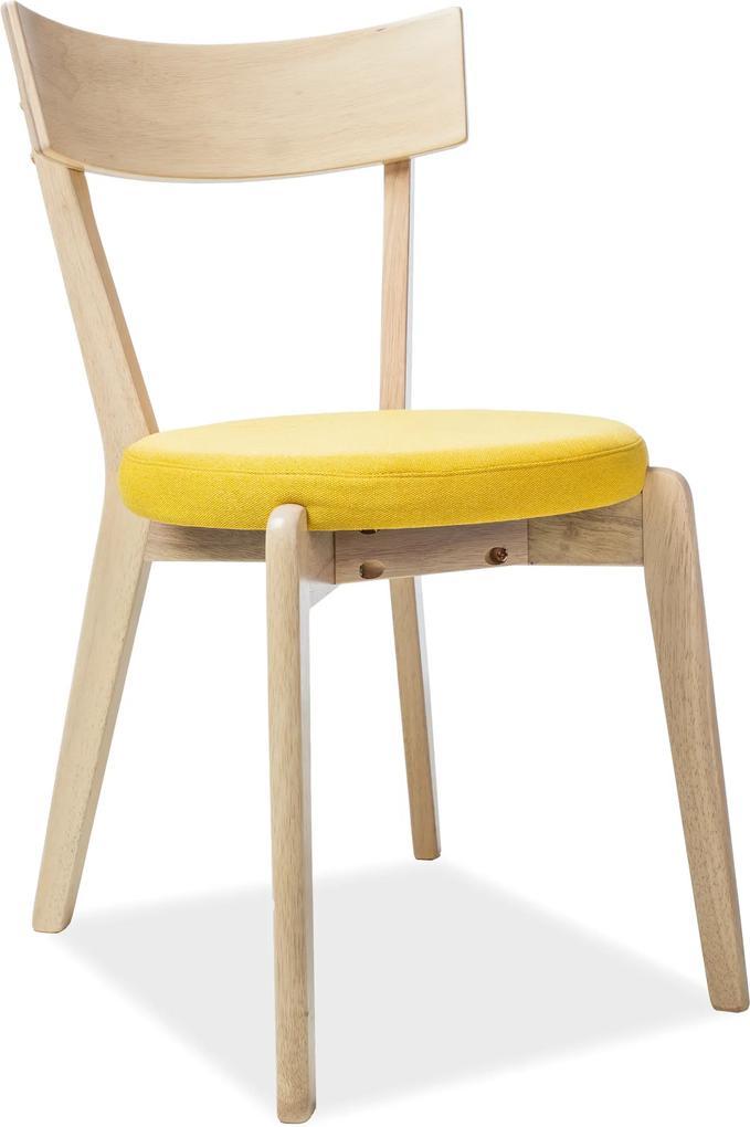 SIGNAL Nelson jedálenská stolička žltá / dub medový