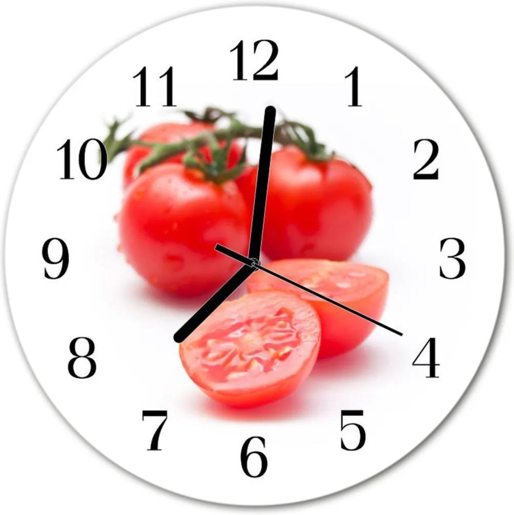 Nástenné skleněné hodiny rajčata