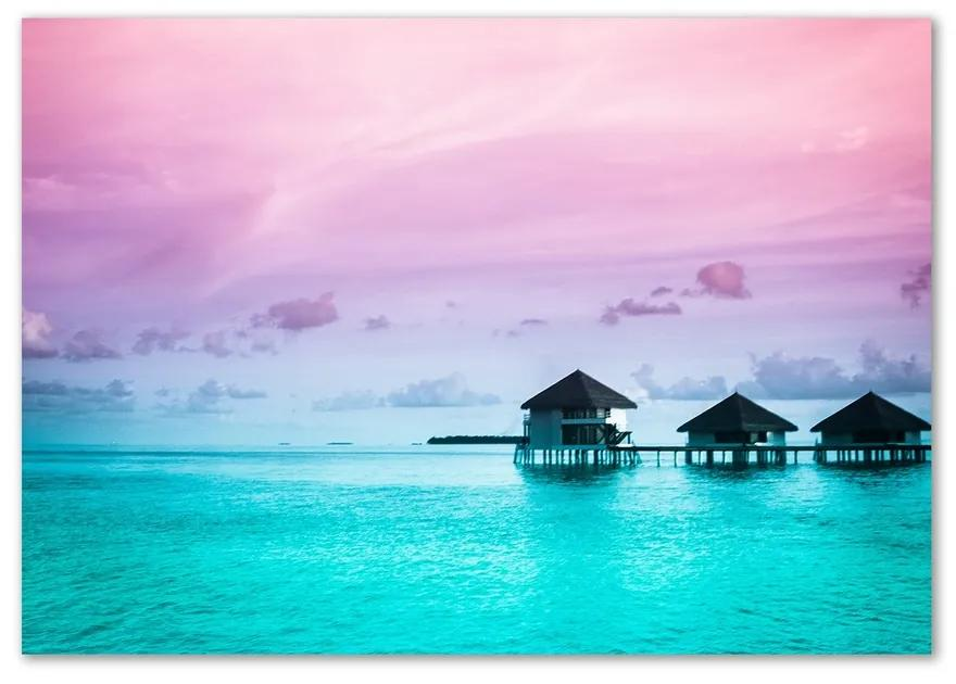 Foto obraz sklo tvrdené Bungalovy nad vodou pl-osh-100x70-f-55594381