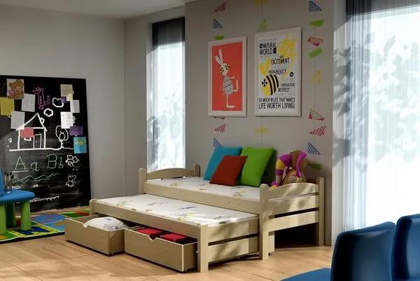 MAXMAX Detská posteľ s výsuvnou prístelkou z MASÍVU 200x80cm so zásuvkou - DPV010 200x80 ÁNO