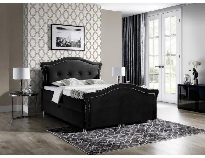 Kúzelná rustikálna posteľ Bradley Lux 120x200, čierna + TOPPER