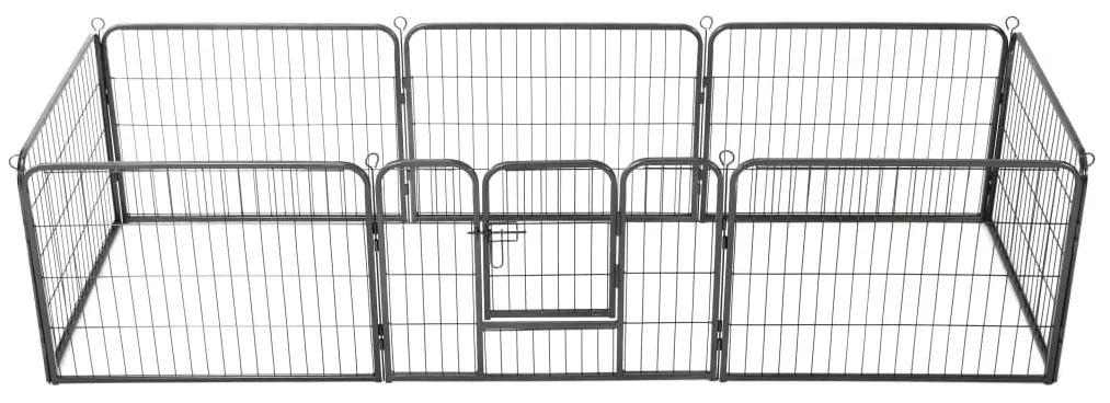 vidaXL Oceľová ohrádka pre psov s 8 panelmi 60x80 cm čierna
