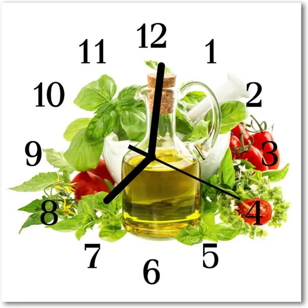 Nástenné skleněné hodiny Basil koření