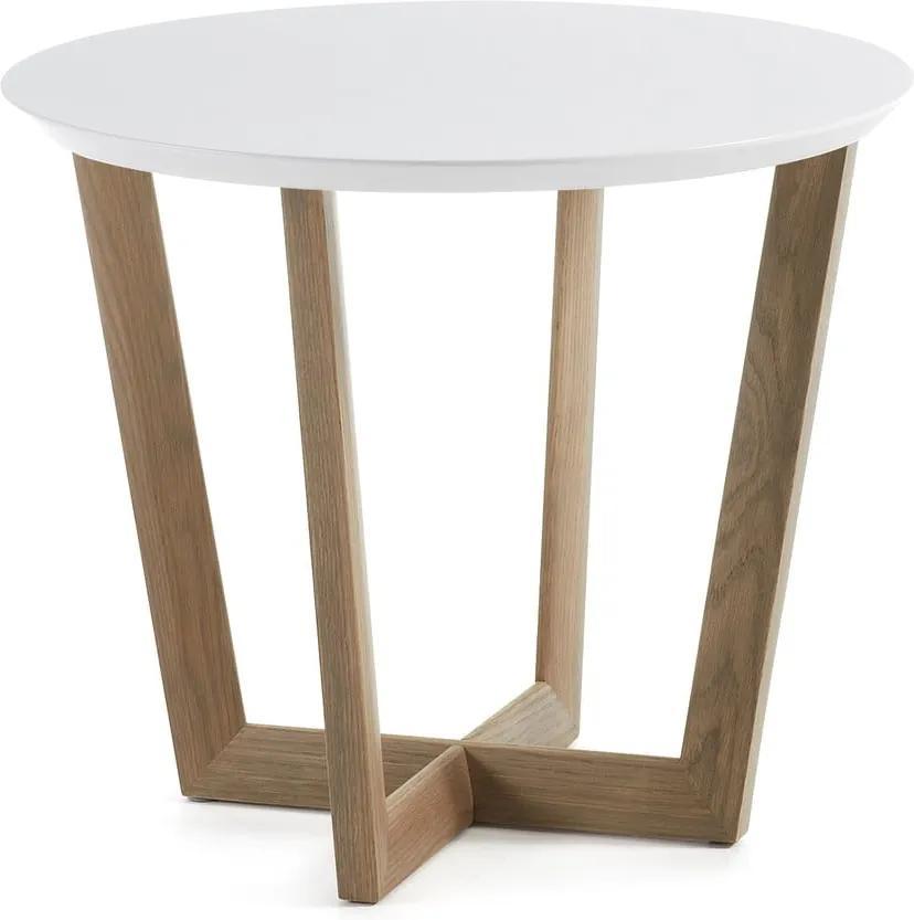 Odkladací stolík z dubového dreva s bielou doskou La Forma Rondo, ⌀ 60 cm