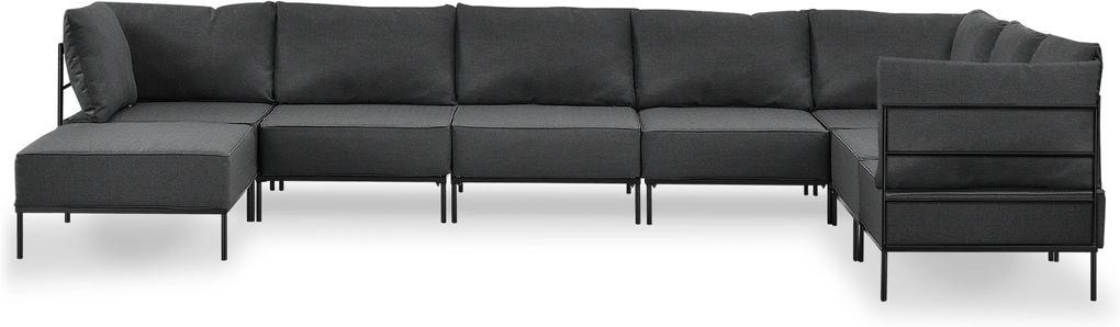 [en.casa]® Pohovka / rohová sedacia súprava - variabilná 6 miestna - tmavo sivá