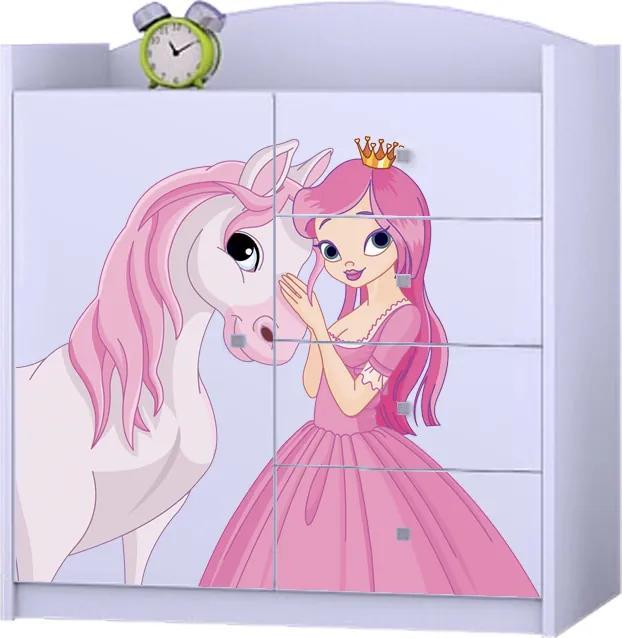 OR Komoda Mery biela K08 - viac variantov Motív: I - Princezna s koníkom