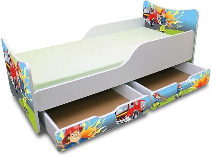 MAXMAX Detská posteľ so zásuvkou 180x90 cm - hasič 180x90 pre chlapca ÁNO