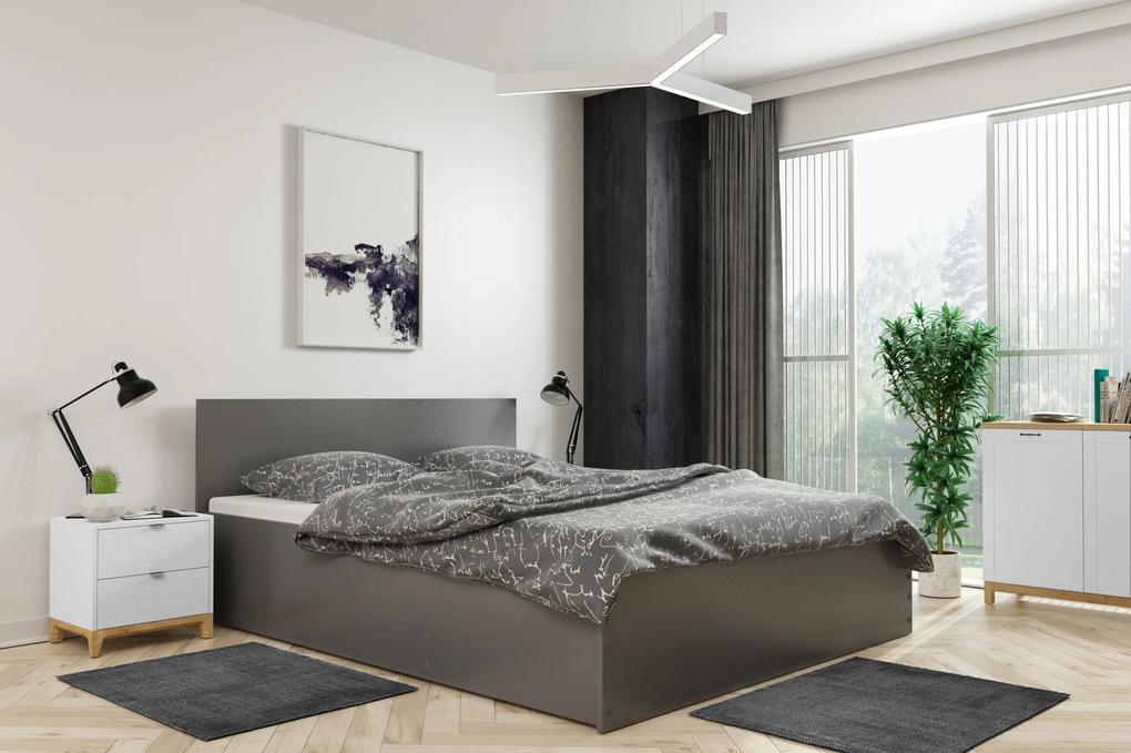 Široká posteľ (výklopná) PANAMAX 120x200cm GRAFIT