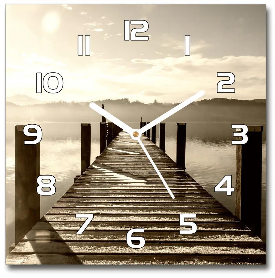 Sklenené hodiny štvorec Drevené mólo pl_zsk_30x30_f_86909176