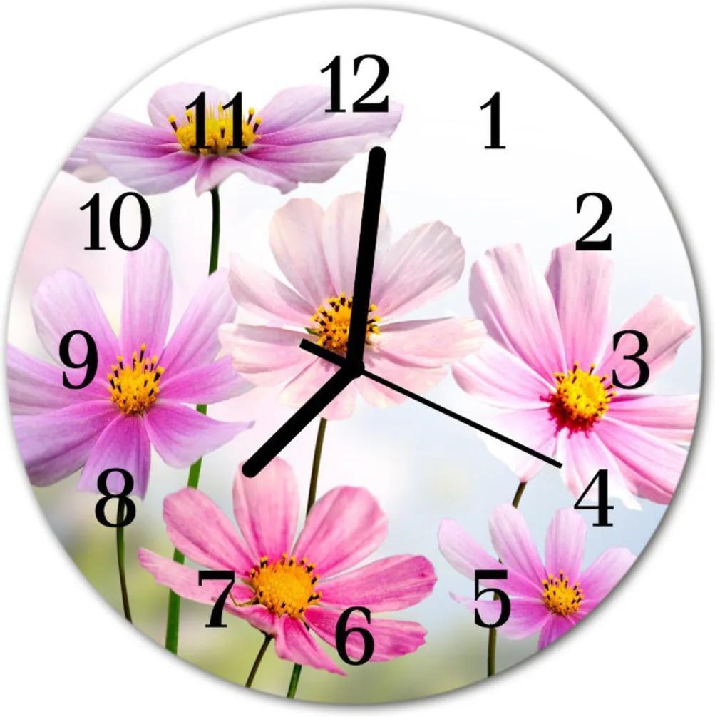 Nástenné skleněné hodiny květiny