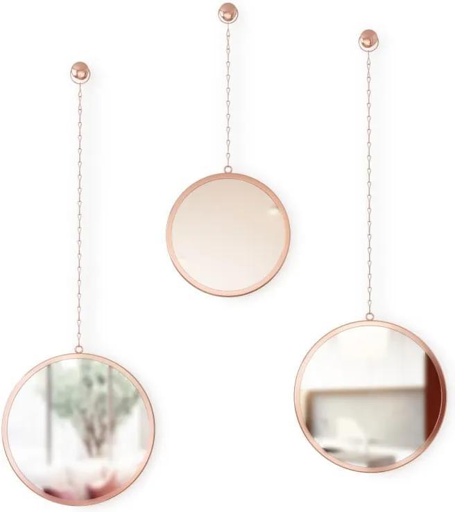 Sada 3 závesných zrkadiel na reťazi v medenej farbe Umbra Rondo