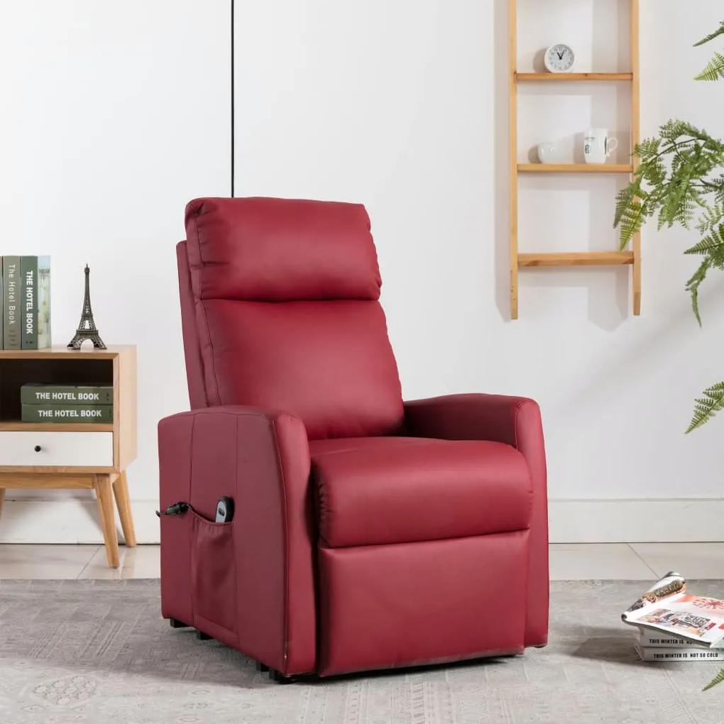 vidaXL Elektrické sklápacie TV kreslo s funkciou stand-up vínovo-červené umelá koža