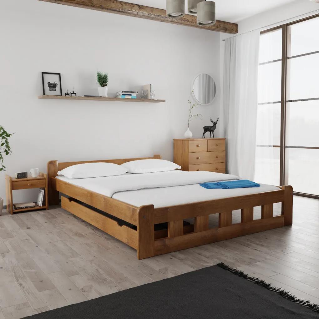 Maxi Drew Posteľ Naomi zvýšená 140 x 200 cm, dub Rošt: s latkovým roštom, Matrac: s matracom Economy 10 cm