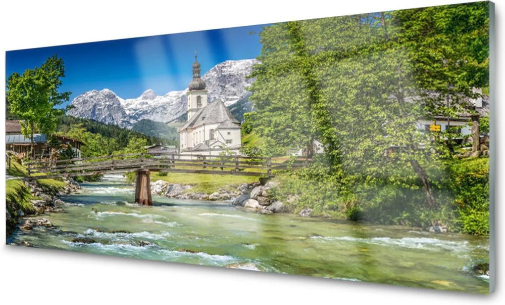 Obraz na skle Kostol Most Jazero Príroda