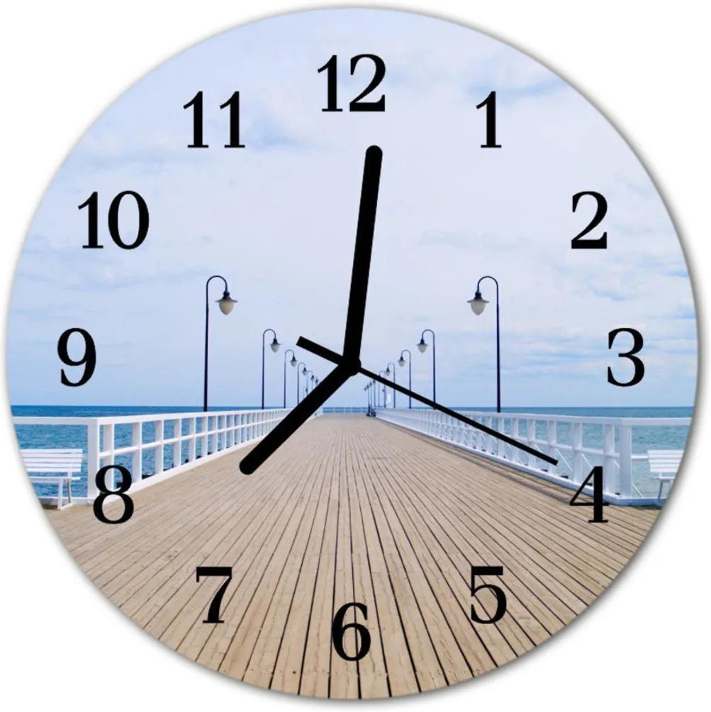 Skleněné hodiny kulaté molo