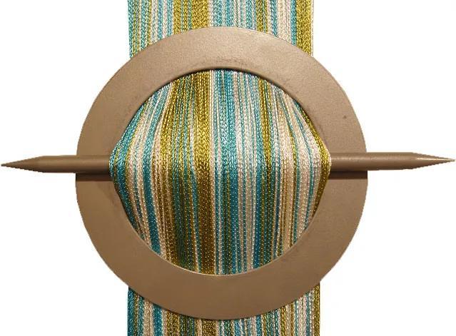 Šnúrková záclona 300 x 250 olivová, tyrkysová, biela ()