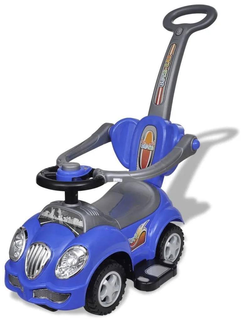 vidaXL Modré detské odrážacie autíčko s vodiacou tyčou