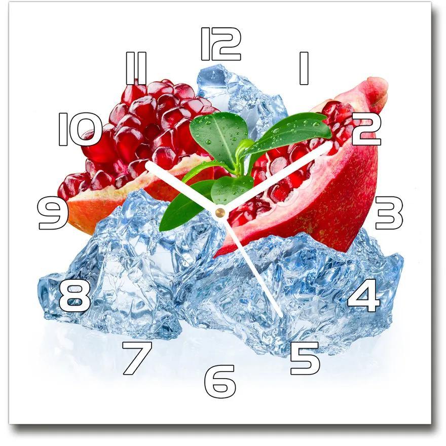 Sklenené hodiny štvorec Granátové jablko s ľadom pl_zsk_30x30_f_66694236