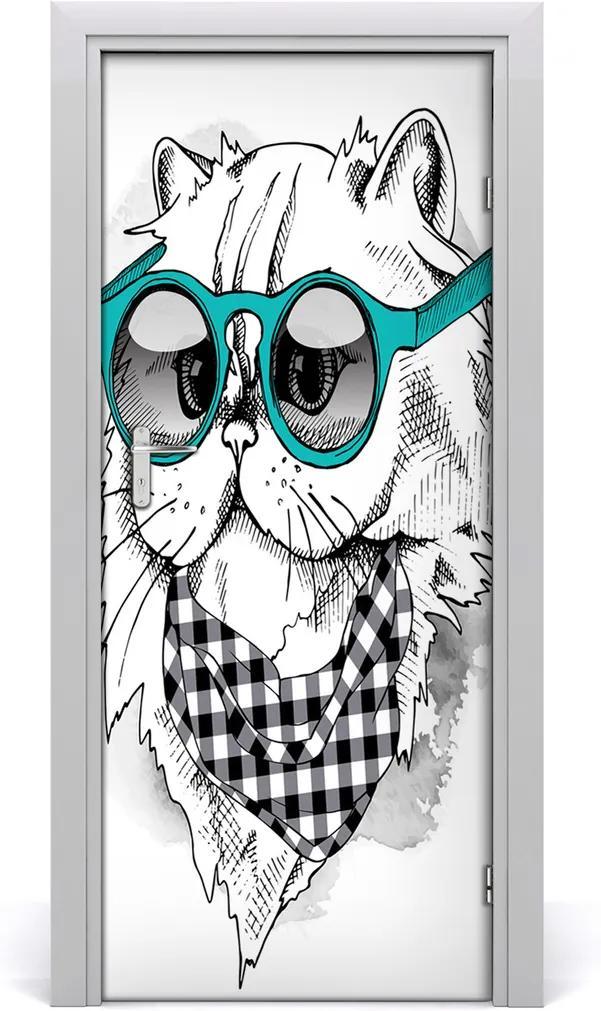 Samolepící fototapeta na dveře Kočka brýle