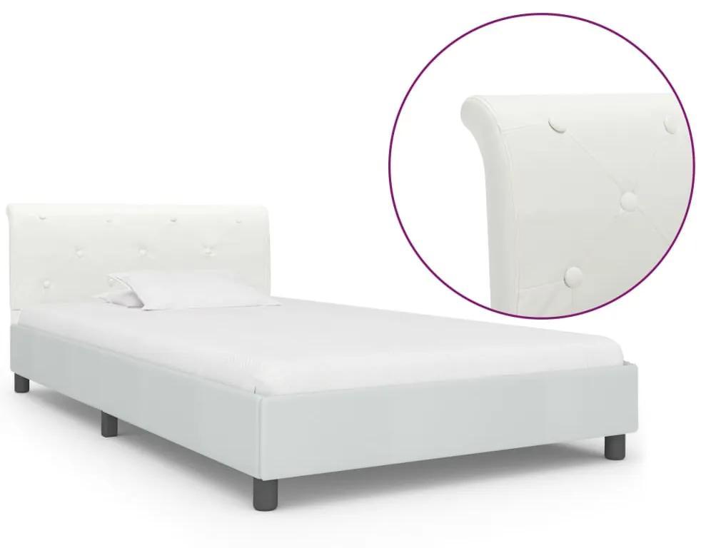 vidaXL Posteľný rám, biely, umelá koža 90x200 cm