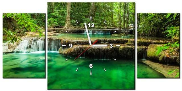 Tlačený obraz s hodinami Vodopád Erawan v Thajsku 80x40cm ZP1187A_3AX