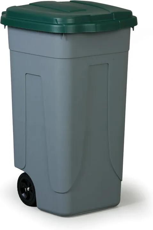 Mobilný odpadkový kôš 100 l, zelený vrchnák