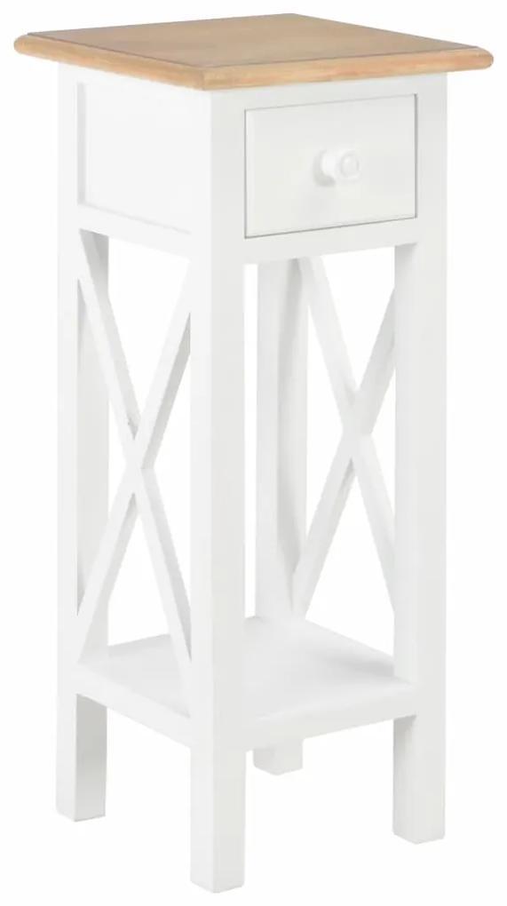 vidaXL Príručný stolík, biely 27x27x65,5 cm, drevo
