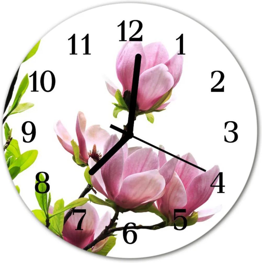Skleněné hodiny kulaté Magnolia květina