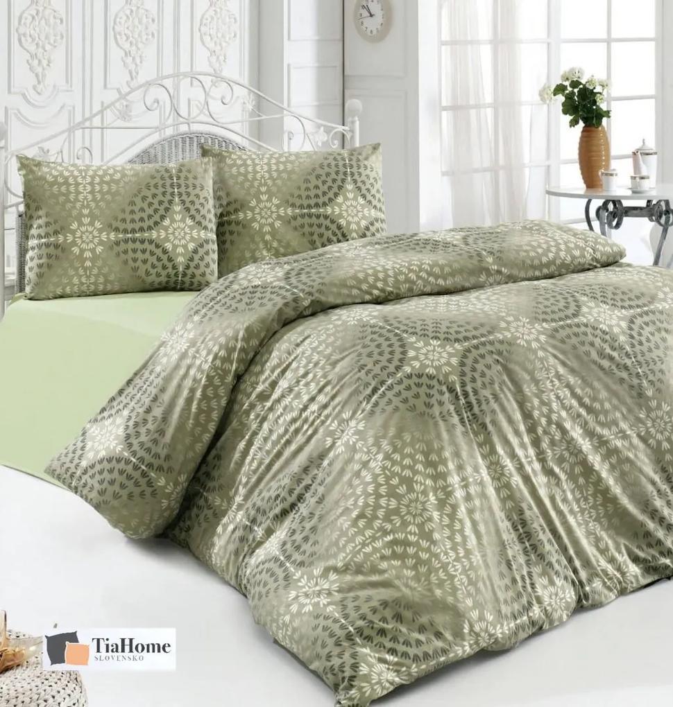 Obliečky bavlnené Luxor zelené TiaHome 1x Vankúš 90x70cm, 1x Paplón 140x200cm