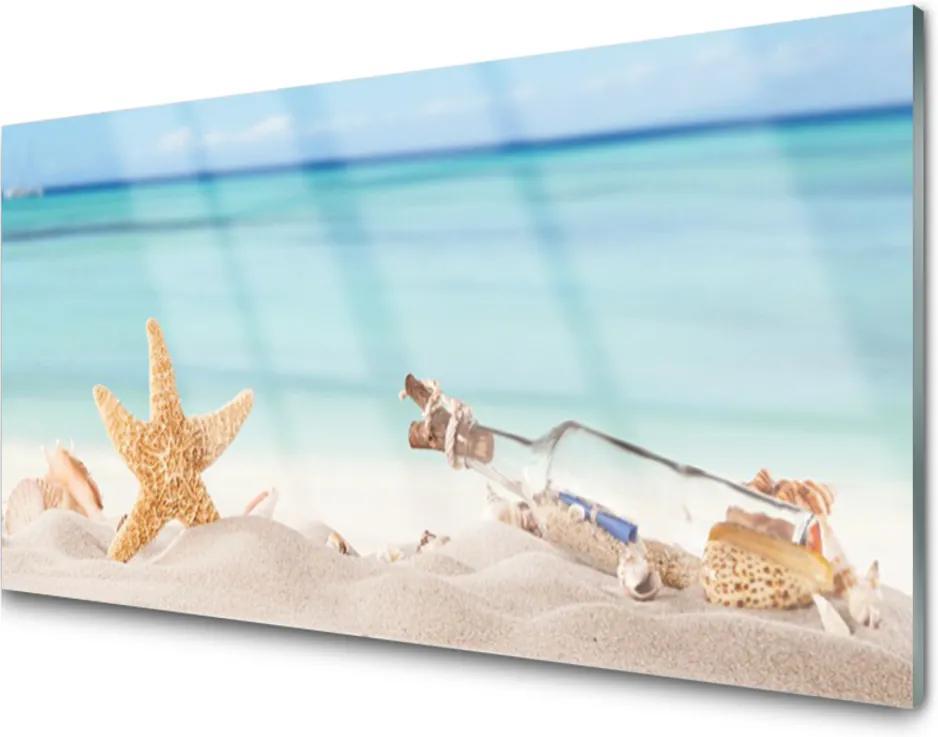 Sklenený obklad Do kuchyne Hviezdice Mušle Pláž