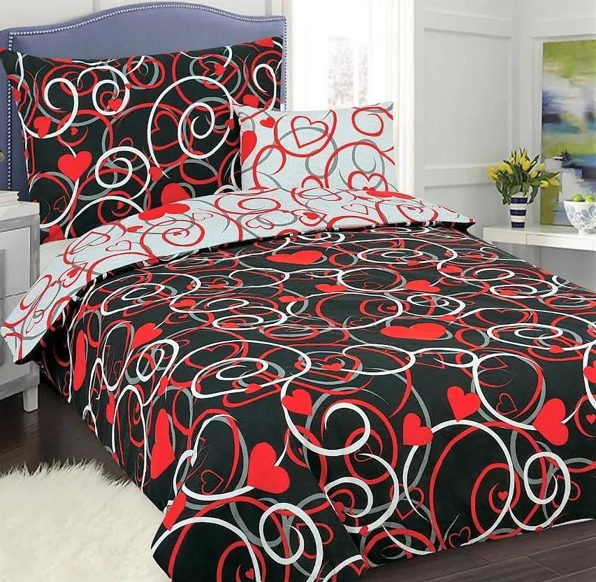 Obliečky Srdce Červené Bavlna 70x90 140x200 cm