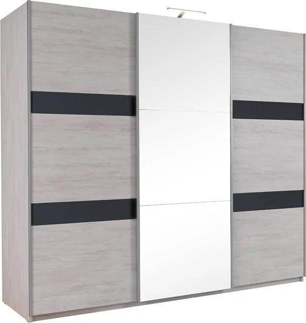 GB Šatníková skriňa so zrkadlom VERDE 250 Farba: dub biely/grafit
