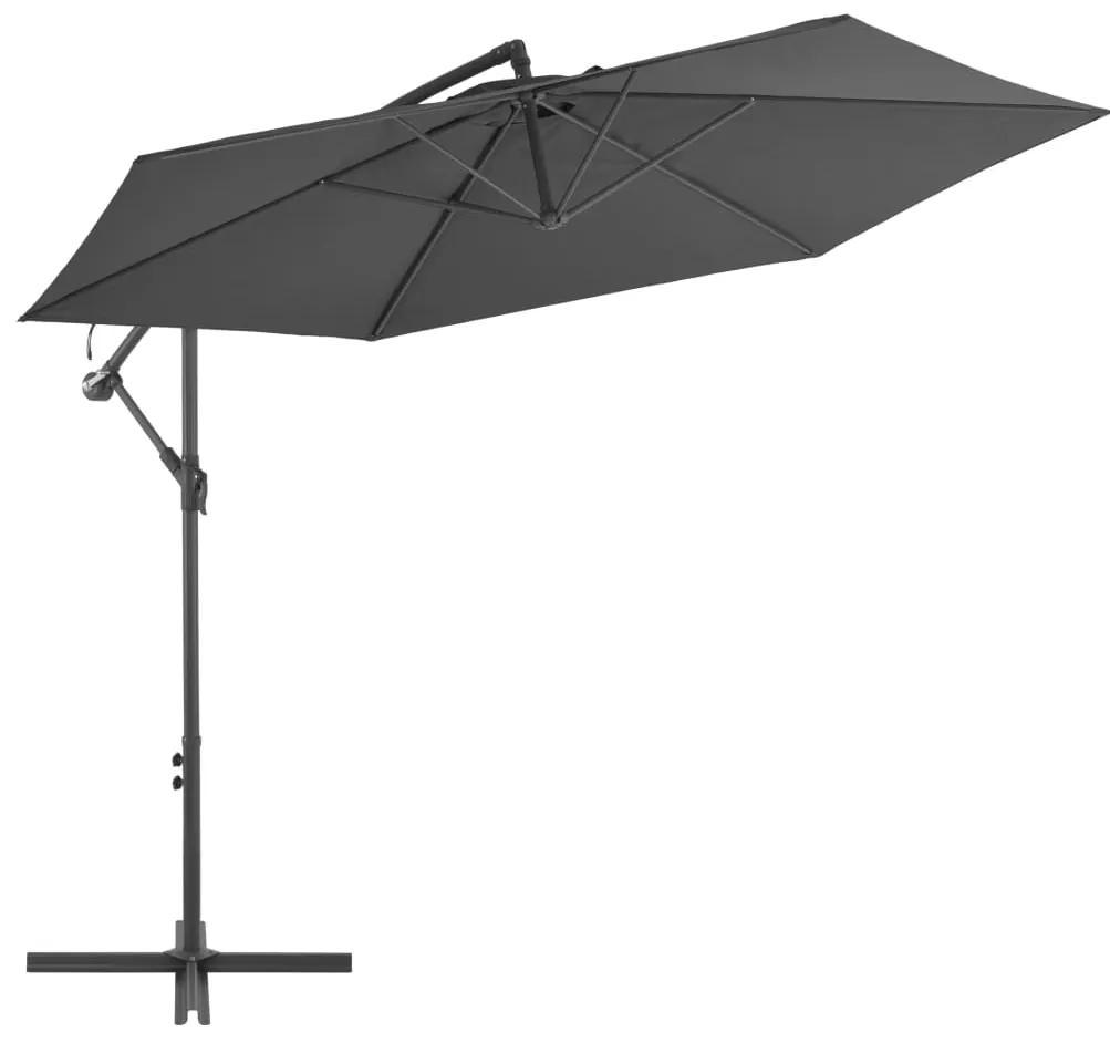 vidaXL Závesný slnečník s hliníkovou tyčou 300 cm antracitový
