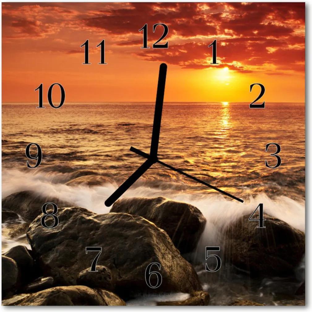 Skleněné hodiny čtvercové Západ slunce
