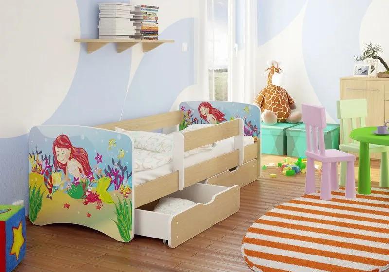 MAXMAX Detská posteľ MORSKÁ VÍLA A KAMARÁTI funny 160x80 cm - bez šuplíku 160x80 pre dievča NIE