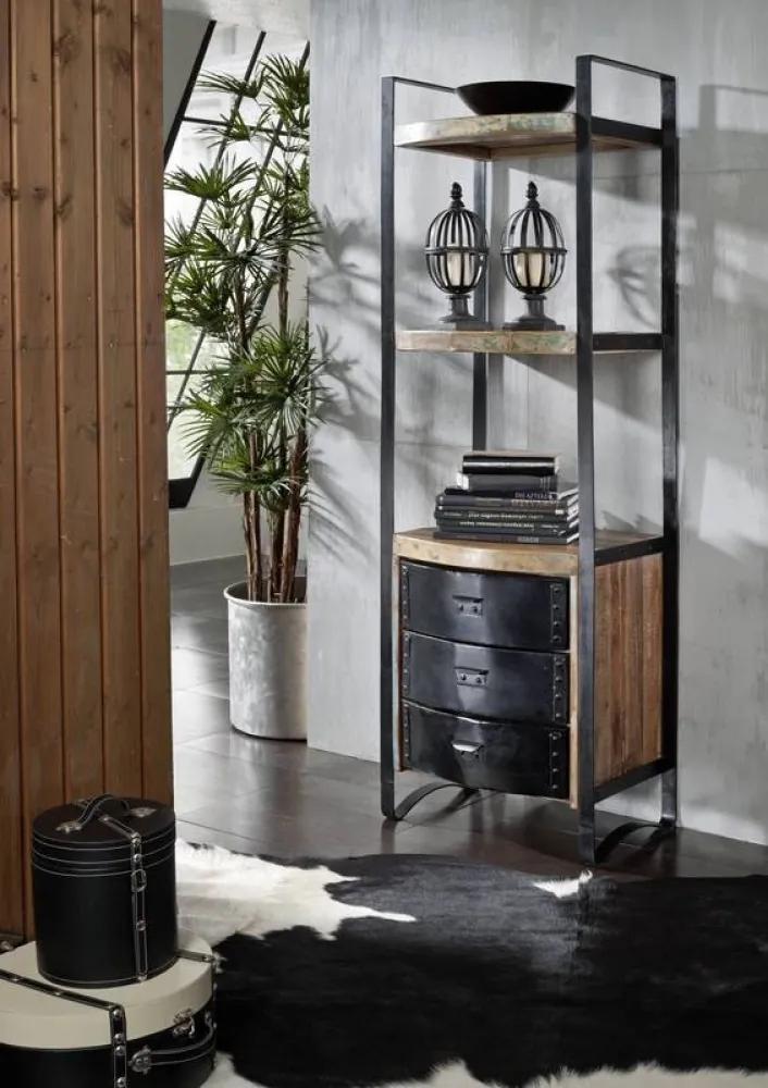 Bighome - INDUSTRY Regál so šuplíkmi 200x70 cm, staré drevo