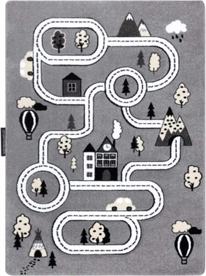 Detský kusový koberec Cesty v meste sivý, Velikosti 180x270cm