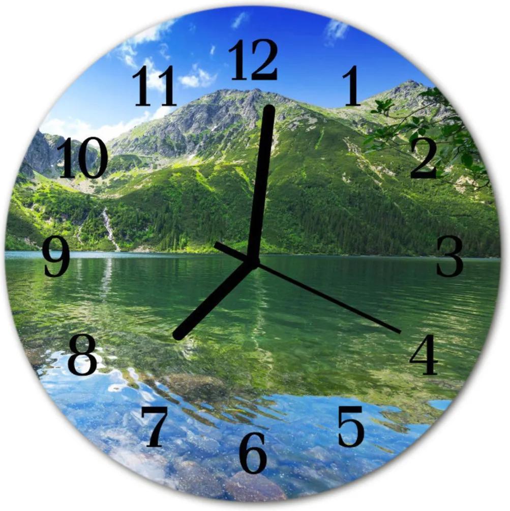 Nástenné skleněné hodiny Horské jezero
