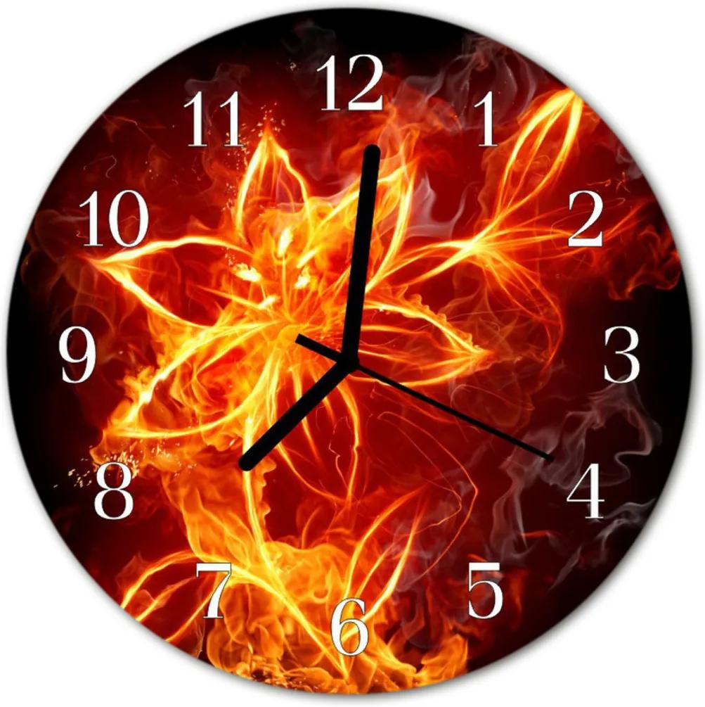 Sklenené hodiny okrúhle  ohnivá kvetina