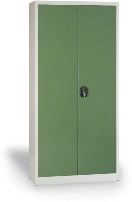 Zváraná skriňa JUMBO, 1950 x 1200 x 800 mm, sivá/zelená