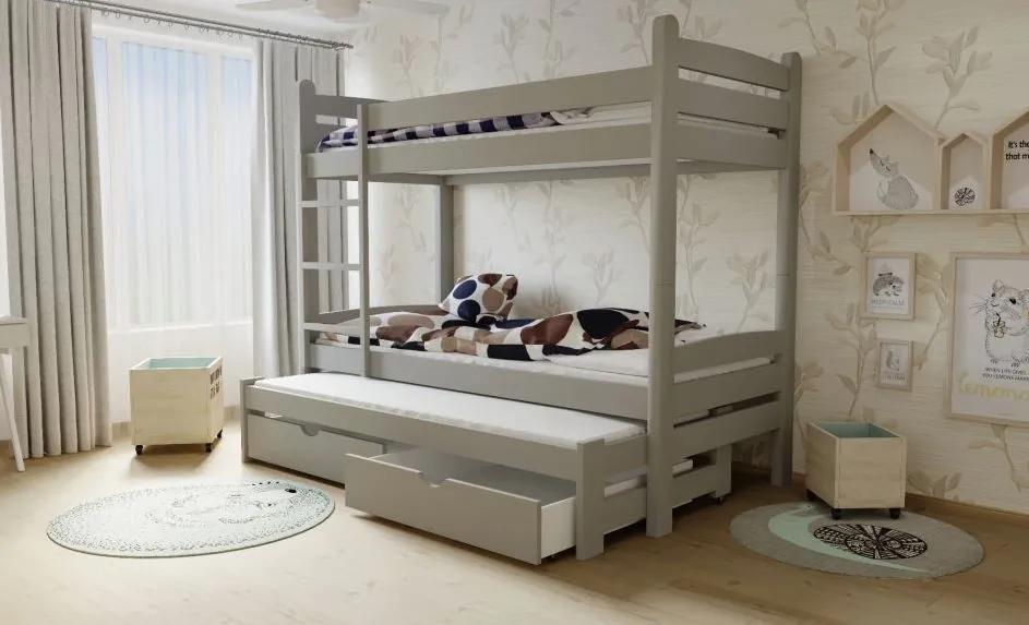 MAXMAX Detská poschodová posteľ s prístelkou z MASÍVU 200x90cm bez šuplíku - PPV007 200x90 NIE