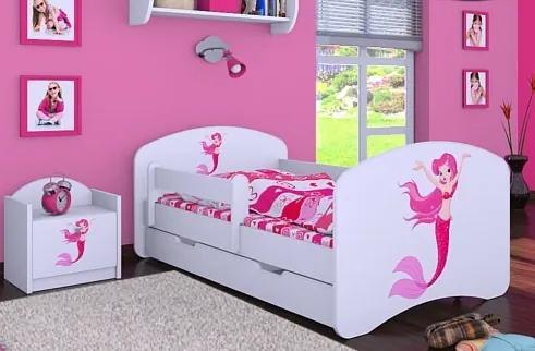 MAXMAX Detská posteľ so zásuvkou 140x70 málo Mermaid