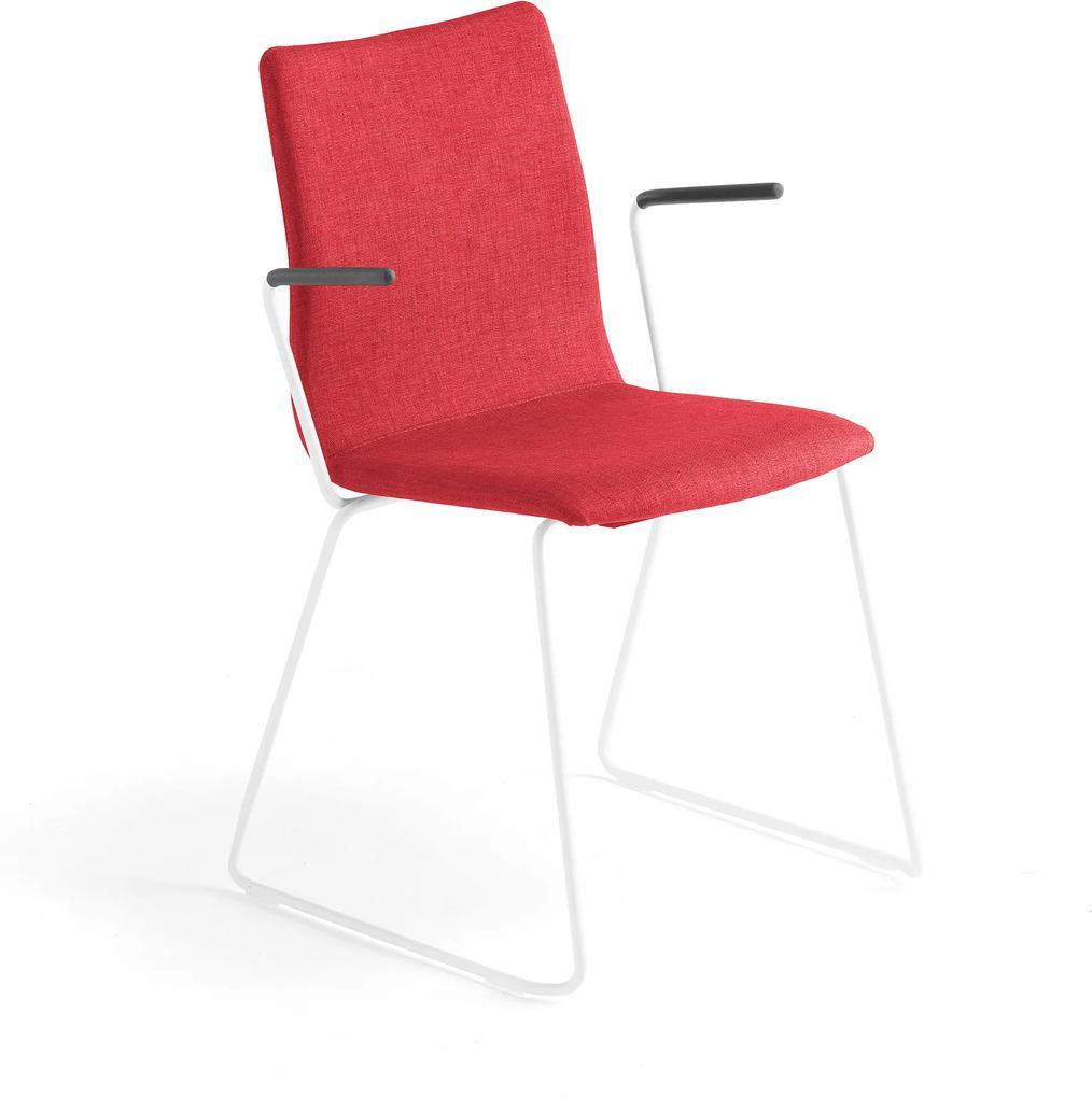 Konferenčná stolička Ottawa, s kĺzavou základňou a opierkami rúk, červená